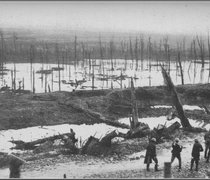 the devastated landscape of a world war 1 battlefield near Verdun