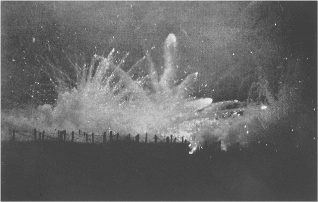 German Artillery Barrage Fire at Night