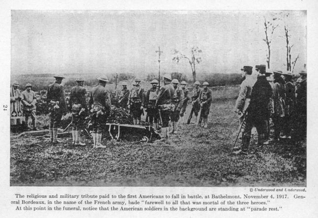 The religious and military tribute paid to the first Americans to fall in battle, at Bathelmont, November 4, 1917.