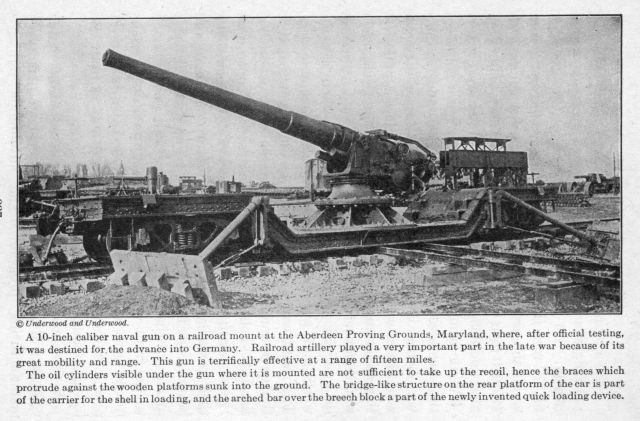 A 10-inch caliber naval gun on a railroad mount.